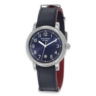 Brooks Brothers Red Fleece Men's Medium Watch in Stainless Steel with Blue Dial and Leather Strap