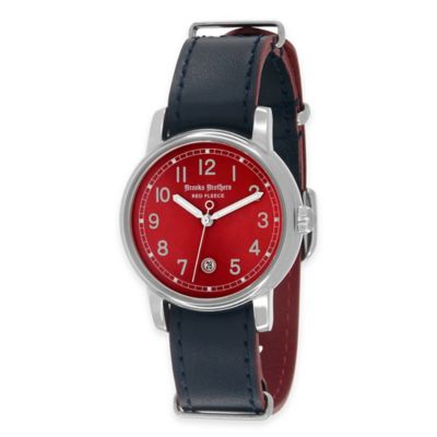 Brooks Brothers Red Fleece Ladies' Small Watch in Stainless Steel with Orange Dial and Leather Strap