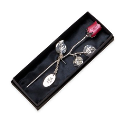 7.5-Inch Silver-Plated Rose in Pink