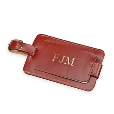 4-Inch Leather Luggage Tag with Snap in Brown