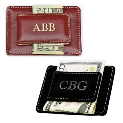 Leather Card Case and Money Clip in Brown