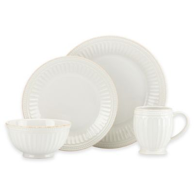 Lenox® French Perle Groove 4-Piece Place Setting in White