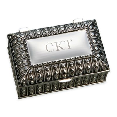 Small Beaded Antique Rectangular Jewelry Box