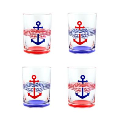 Nautical Anchor Double Old Fashioned Glasses in Blue/Red (Set of 4)