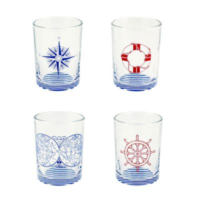 Nautical Ocean Symbol Double Old Fashioned Glasses in Blue/Red (Set of 4)