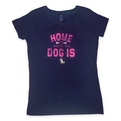 "Teddy the Dog Small ""Home Is Where the Dog Is "" Ladies V-Neck Tee in Navy"