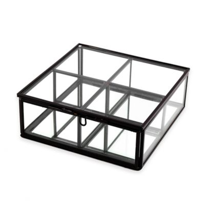 Mirrored 4-Section Storage Box in Matte Nickel