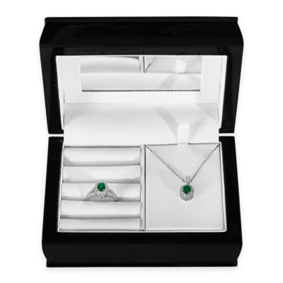 Sterling Silver Created Emerald and Created Sapphire Halo Pendant, Size 8 Ring and Jewelry Box Set