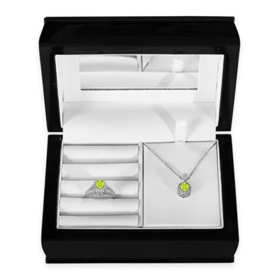 Sterling Silver Peridot and Created White Sapphire Halo Pendant, Size 7 Ring and Jewelry Box Set