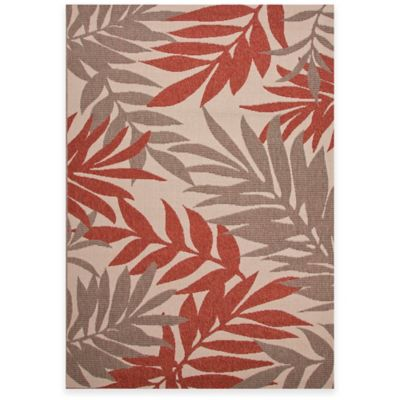 Jaipur Fern 7-Foot11-Inch x 10-Foot Indoor/Outdoor Rug in Ivory/Red