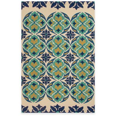 Jaipur Malta 3-Foot 6-Inch x 5-Foot 6-Inch Indoor/Outdoor Accent Rug in Blue/Green