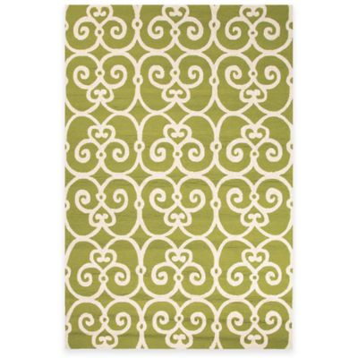 Jaipur Ironwork 3-Foot 6-Inch x 7-Foot 6-Inch Indoor/Outdoor Area Rug in Seafoam/White