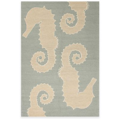Jaipur Grant Design Seahorse 2-Foot x 3-Foot Indoor/Outdoor Accent Rug in Blue/Beige