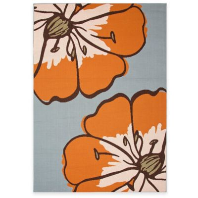 Jaipur Floral 5-Foot 3-Inch x 7-Foot 6-Inch Indoor/Outdoor Porch Rug in Blue