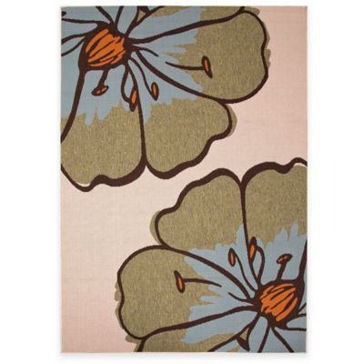 Jaipur Floral 7-Foot 11-Inch x 10-Foot Indoor/Outdoor Porch Rug in Blue
