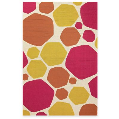 Jaipur Dots 2-Foot x 3-Foot Indoor/Outdoor Accent Rug in Yellow/Pink
