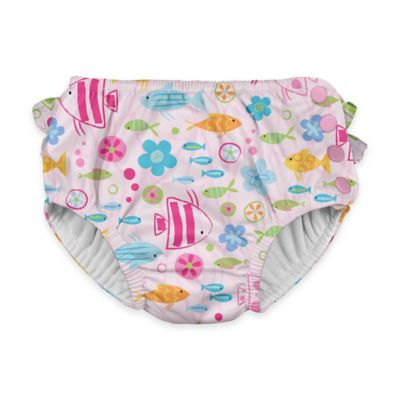 i play.® Size 24M Flower Fish Ultimate Ruffle Swim Diaper in White/Pink