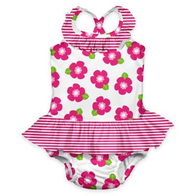 i play.® Size 18M Flower Ultimate Swim Diaper Ruffle Tanksuit in White/Pink