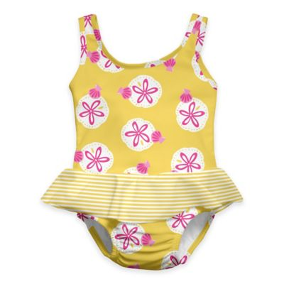 i play.® Size 12M Sand Dollar Ultimate Swim Diaper Skirty Tanksuit in Yellow