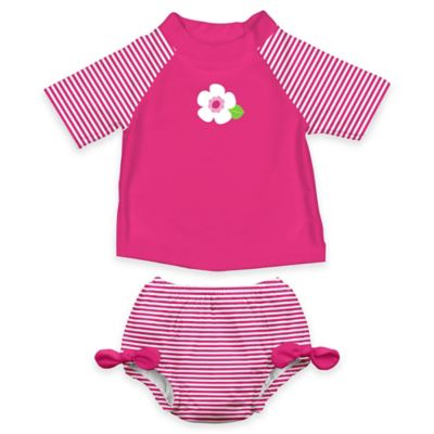 i play.® Size 6M 2-Piece Ultimate Swim Diaper & White Flower Rashguard Set in Pink