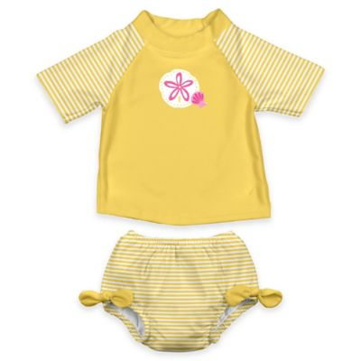 i play.® Size 18M 2-Piece Ultimate Swim Diaper & Sand Dollar Rashguard Set in Yellow