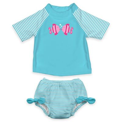 i play.® Size 12M 2-Piece Ultimate Swim Diaper & Kissing Fish Rashguard Set in Aqua