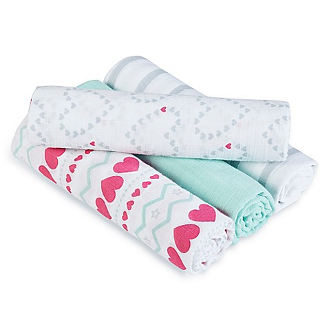 Swaddle Blankets > aden® by aden + anais® Light Hearted 4-Pack Muslin swaddleplus® Blankets in Blue/Pink