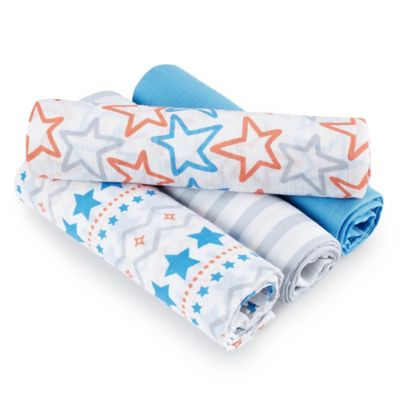 aden® by aden + anais® Small Fry 4-Pack Muslin swaddleplus® Blankets in Blue/Orange