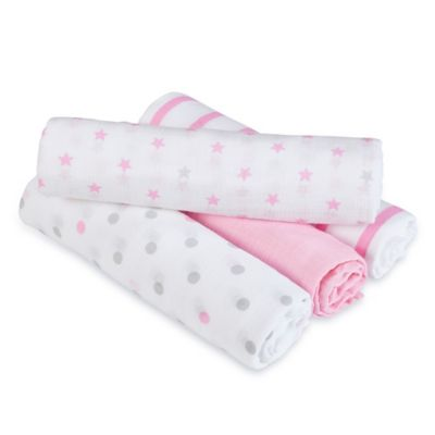 aden® by aden + anais® Darling 4-Pack Muslin swaddleplus® Blankets in Pink/Grey