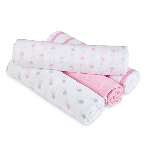 Swaddle Blankets > aden® by aden + anais® Darling 4-Pack Muslin swaddleplus® Blankets in Pink/Grey