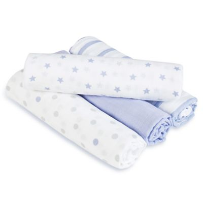 aden® by aden + anais® Dashing 4-Pack Muslin swaddleplus® Blankets in Blue/Grey
