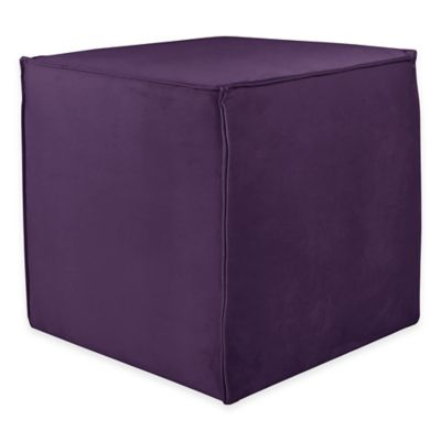 Skyline Furniture Clair Ottoman in Velvet Light Grey