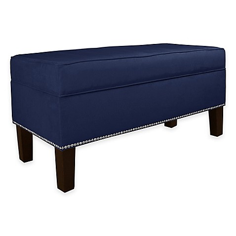Buy skyline furniture franklin storage bench in velvet navy from bed bath beyond Velvet storage bench
