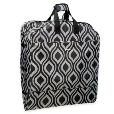 WallyBags® 52-Inch Dress Length Fashion Garment Bag with Pockets in Black/Grey