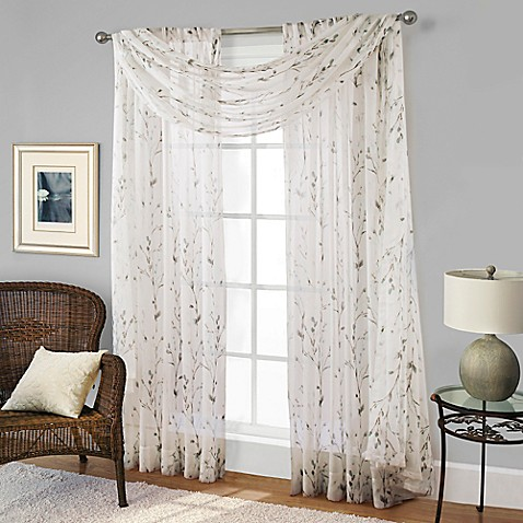 willow print window scarf valance in blue bed bath beyond