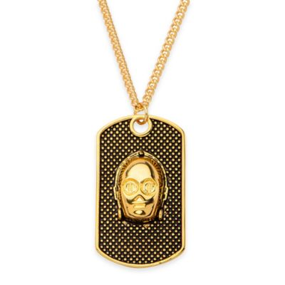 Star Wars™ Stainless Steel 22-Inch Chain C-3PO Dog Tag Necklace