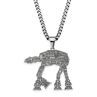 Star Wars™ Stainless Steel 22-Inch Chain AT-AT Walker Pendant Necklace