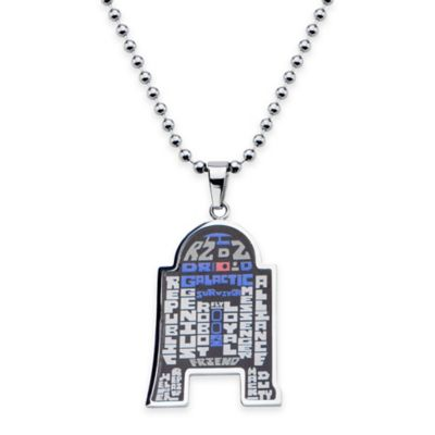 Star Wars™ Stainless Steel 22-Inch Chain R2-D2™ Pendant Necklace