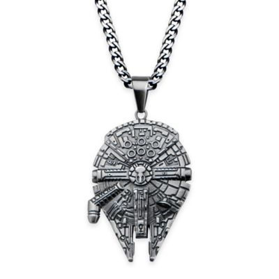 Star Wars™ Stainless Steel 22-Inch Chain Millennium Falcon Pendant Necklace