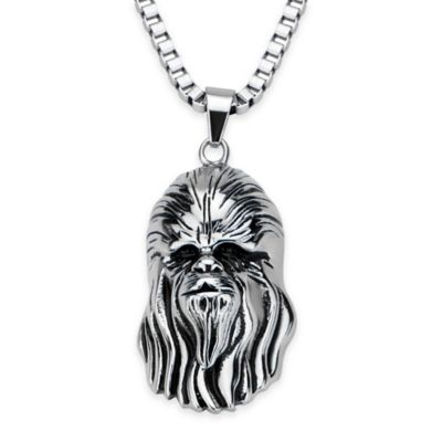 Star Wars™ Stainless Steel 22-Inch Chain Chewbacca Pendant Necklace