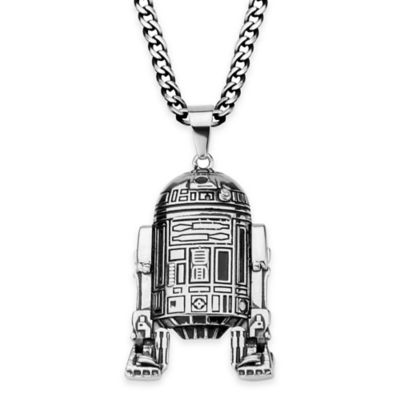 Star Wars™ Stainless Steel 18-Inch Chain R2-D2 Pendant Necklace