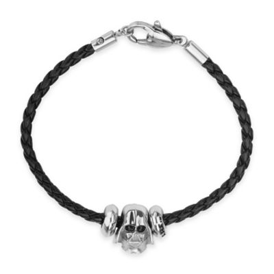 Star Wars™ Stainless Steel 3D Darth Vader Bead Charm with 7-Inch Braided Black Leather Bracelet
