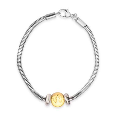 Star Wars™ Gold-Plated Stainless Steel Rebel Symbol Bead 7-Inch Charm Bracelet