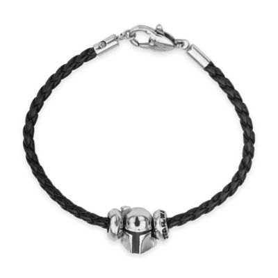 Star Wars™ Stainless Steel Boba Fett Bead Charm with 7-Inch Braided Black Leather Bracelet