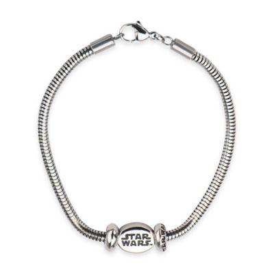 Star Wars™ Stainless Steel Oval Logo Bead 7-Inch Charm Bracelet