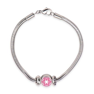 Star Wars™ Stainless Steel and Pink Enamel Imperial Symbol Bead 7-Inch Charm Bracelet