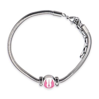 Star Wars™ Stainless Steel and Pink Enamel Jedi Symbol Bead 7-Inch Charm Bracelet