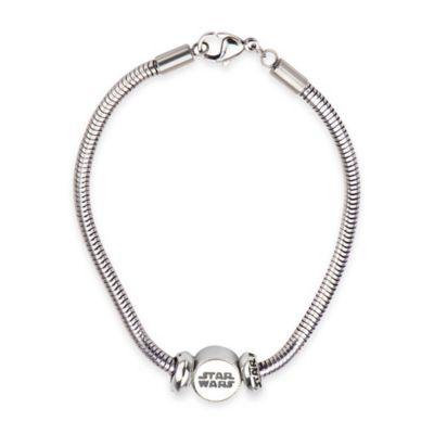 Star Wars™ Stainless Steel Logo Bead 7-Inch Charm Bracelet