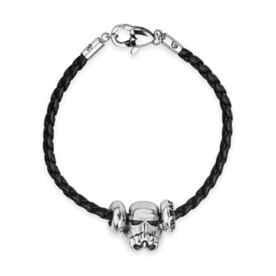 Star Wars™ Stainless Steel 3D Stormtrooper Bead Charm with7-Inch Braided Black Leather Bracelet