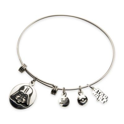 Star Wars™ Stainless Steel Darth Vader Charm Bangle Bracelet